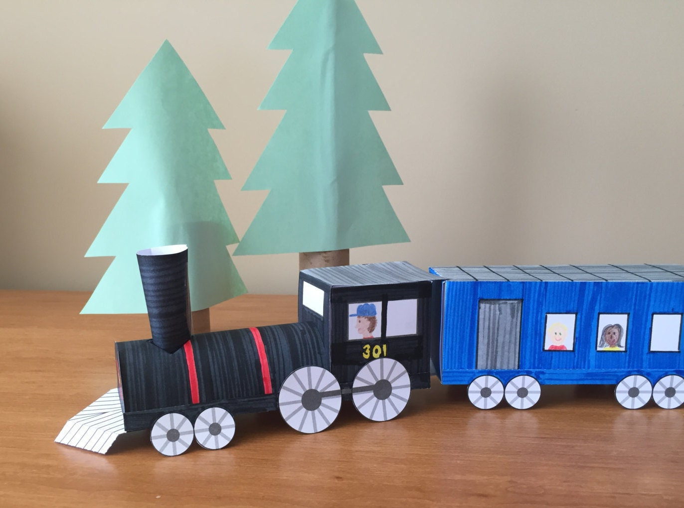 3d Paper Train Instant Download Template