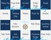 Nautical Baby Shower Game, Boy Nautical Theme Baby Shower Bingo, Printable Baby Gift Bingo, Nautical Theme Baby Shower Game for Boy Download