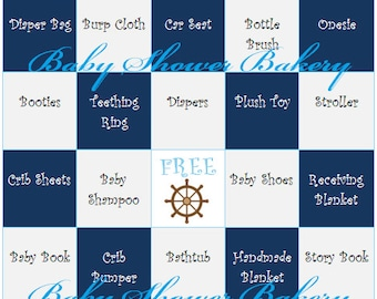 Nautical Baby Shower Game, Boy Nautical Theme Baby Shower Bingo, Printable Baby Gift Bingo, Nautical Theme Baby Shower Game for Boy Download