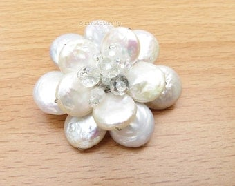 White freshwater pearl flower brooch with crystal, coin shape pearl, flower pin