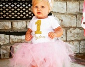 Baby Girl First Birthday Onesie, One Gold Glitter with Custom Name, cake smash photo outfit shoot, Short and Long Sleeve Size 6 12 18 month
