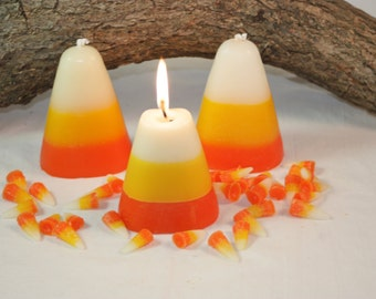 Candy Corn Candle Scented in Sweet Candy Corn, Halloween Candle, Fall Home Decor, Halloween Decoration, Wax Fake Food