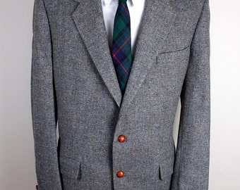 Palm Beach Brand Grey Wool with Brown Accents Blazer Big and Tall Size Brown Leather Buttons