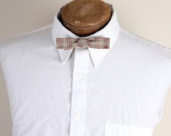 Vintage 1950s Mac Kenzie Brand Hand Tie Grey Red Black Checked Mens Bowtie Tie