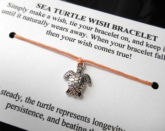 Sea Turtle Wish Bracelet - Wish Bracelet - Sea Turtle Bracelet - Party Favor - Get Well Gift - Shower Favor - Beach Wedding - Bridesmaid