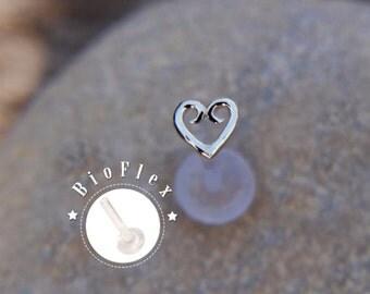 SILVER HEART 16 gauge tragus earrings celtic heart sterling silver bioflex