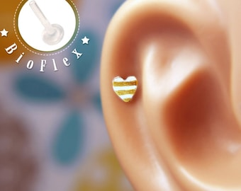 TRAGUS or LABRET or CARTILAGE /Striped Heart/ 5mm/ 24k Gold Plated/ Piercing/ Rook/ Conch/ Medusa/ Labret earring/ Medusa piercing