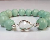 Natural Wood Bead and Crystal Connector Stretch Bracelet, Seafoam Wood Bead and Clear Crystal Connector Bracelet, Natural Stretch Bracelet