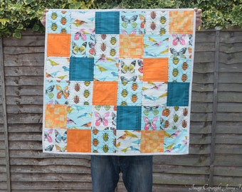 Bugs and birds baby quilt - modern contemporary bright baby blanket. Biology gifts, bug fabric, quirky, unusual new baby gift, cot quilt UK