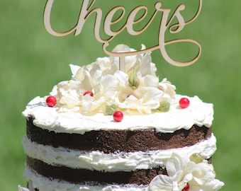 Rustic CHEERS Cake topper - Wooden cake topper - Party Cake topper