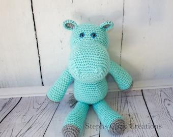 Aqua and Silver Hippo Plushie, Crochet Amigurumi, Crochet Hippo, Baby Shower Gift, Nursery Decor, Stuffed Animal