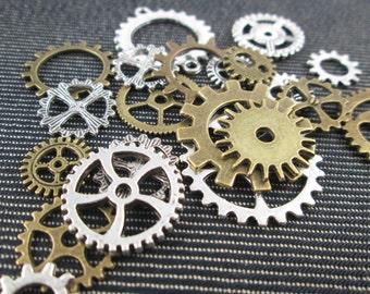 Steampunk Gears Charms Buttons 20 + Pieces Mixture Assortment Mix Antique Bronze, Silver - CT - 0501