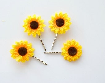 Mini Sunflower Bobby Pins, Set of Four, Boho Hair Accessories, Flower Bobby Pins, Cute Hair Pins, Womens Summer Accessory, 90's Inspired