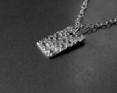 Silver Pendant with chain, fine silver tiny pendant, unique design