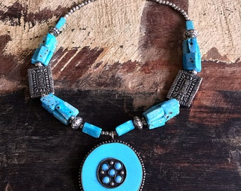 Gypsy Boho necklace in Turquoise & Silver by Dazzling Gypsy Queen
