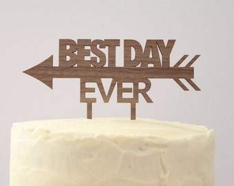 Best Day Ever // Timber Wedding Cake Topper // Rustic Country Woodland Garden Romance // Australia