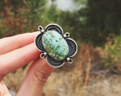 RESERVED - Size 8 - Green Turquoise ring // Sterling Silver // Turquoise Mountain Turquoise // Big Turquoise ring