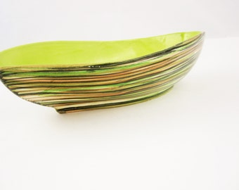 Leaf Bowl With Chartreuse Interior - Hand-painted Striped Glaze - Marked 'SYNA?' - Art Bowl - Danish Modern Coloring - Brushstroke Outside