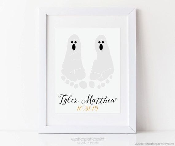 Halloween Art Baby Footprint Ghost Print, Kids Decoration, Decor, Personalized with your Child's Feet, 5x7, 8x10 or 11x14 inches UNFRAMED