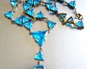 Aqua Blue Czech Necklace, Art Deco, Y-Style, Open-Back Antique