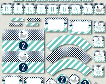 Whale Birthday Party Printables, Blue Whale Boy Birthday, First Birthday, Numbers 1 - 5, Whale Party, Printable Birthday, Instant Download