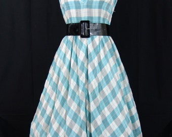 1950s Gingham Vintage Dress L