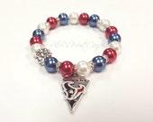 Houston Texans Bracelet, Beaded Bracelet, NFL, Football Bracelet, Charm Bracelet,Stretchy, Handmade Custom Jewelry