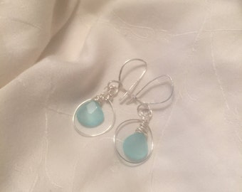 Aquamarine and Sterling Silver Interchangeable Earrings