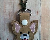 Chihuahua Dog Snap Key Fob Key Chain, Embroidered Light Brown Vinyl, with White Snap, Made in USA, Animal Lover Key Ring, Quick Ship