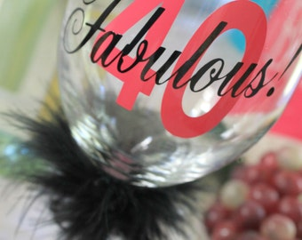 40th Birthday - 40th Birthday Wine Glass - 40th Birthday Gift - Birthday Wine Glass - Custom Wine Glass - Wine Glasses - Birthday Gift