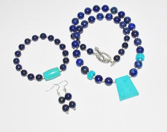 3pc Natural Gemstone Necklace Set - Lapis,Turquoise & Sterling Silver - S2348