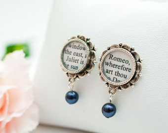 Romeo and Juliet Pearl Drop Earrings – William Shakespeare Jewelry - Literary Jewelry – Romantic Gifts for Book Lovers