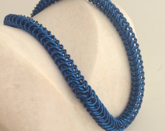 Chainmail necklace, royal blue chain mail necklace, handmade box weave chainmaille jewelry made by misome