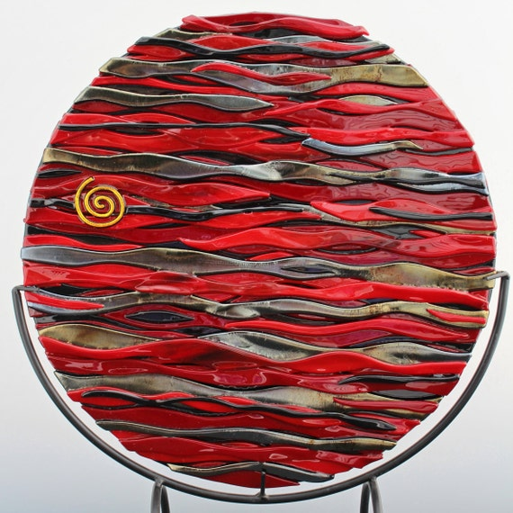 Red Movement Fused Glass Disk