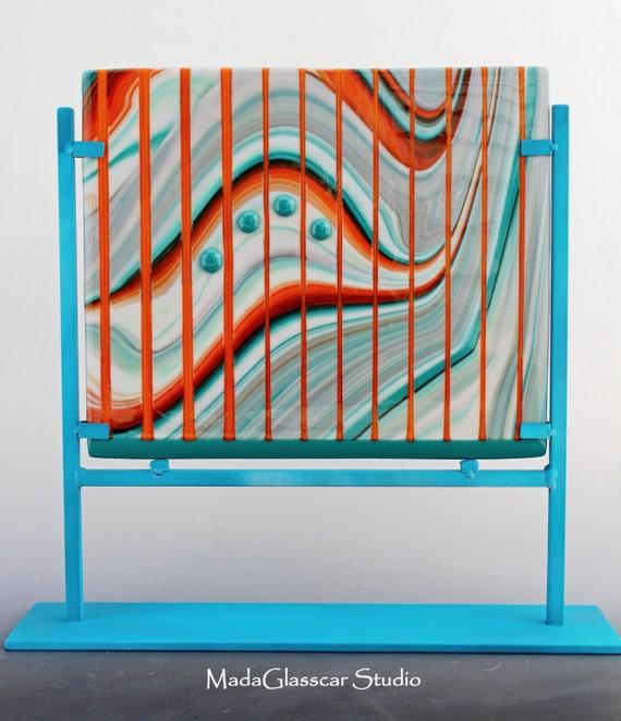 Southwest Landscape Fused Glass Panel