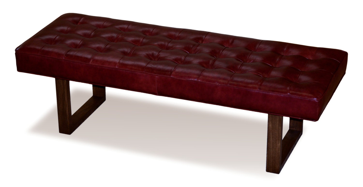 Retro Modern Merlot Red Genuine Leather Bench Ottoman Coffee Table