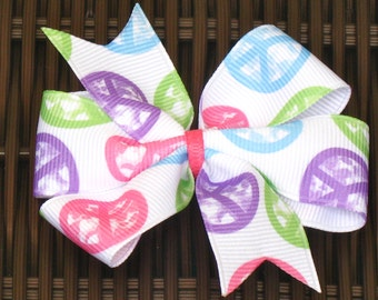 Peace Sign 4 Inch Hair Bow - Peace Sign 4 Inch Pinwheel Hair Bow - Hippy Themed Party - Hippy Themed Party Favor - Peace Party - BowBravo