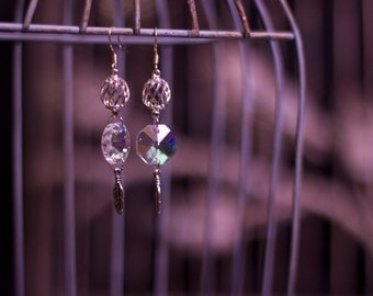 Silver Swirl and Crystal Feather Earrings