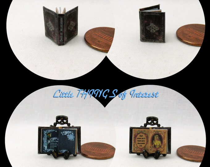 1:24 Scale BOOK Of INCANTATIONS Miniature Book Dollhouse Illustrated Book