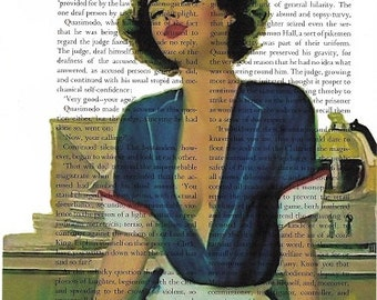 Book Page Art, The Waitress, Fifties Aer Humor, Home Decor
