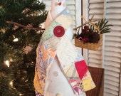 """Primitive """"Grace"""" Snowman with Vintage Quilt Scarf"""