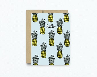 Pineapple Greeting Card. Card for friend. Blank Notecard. Blank Pineapple Greeting Card. Hello Friend Card. Notecard Pineapple Art #269