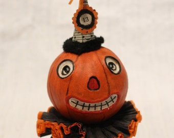 Halloween Pumpkin Vintage Style Prim Folk Art Doll # 13