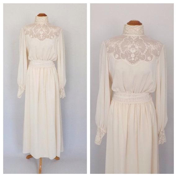 Vintage 1900's Style Edwardian Dress Antique 1970 Wedding