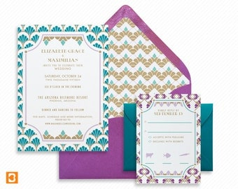 Art Deco Printable Wedding Invitation Suite with Print-at-Home Save the Date and Print-ready Information Card Inspired by Hollywood Regency