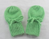 Green Baby Mittens - Acrylic Hand Knit  Thumbless Mitts Fitting Babies 0 to 12 Months - Soft Bright Infant Mittens - Winter Baby Shower Gift