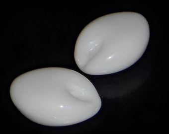 White Glass Beads, Vintage Glass Beads, Opaque White, Flat Oval Beads, 18mm Beads, White Oval Beads, Unique Beads, White Beads