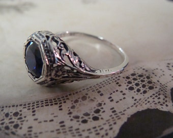 Sweet Sterling Filigree Sapphire Ring Size 6.5