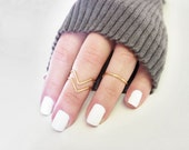Midi Rings Set of 3 in Gold or Silver Tone 2 Chevron 1 Band Geometric Dainty Stacking Custom Adjustable