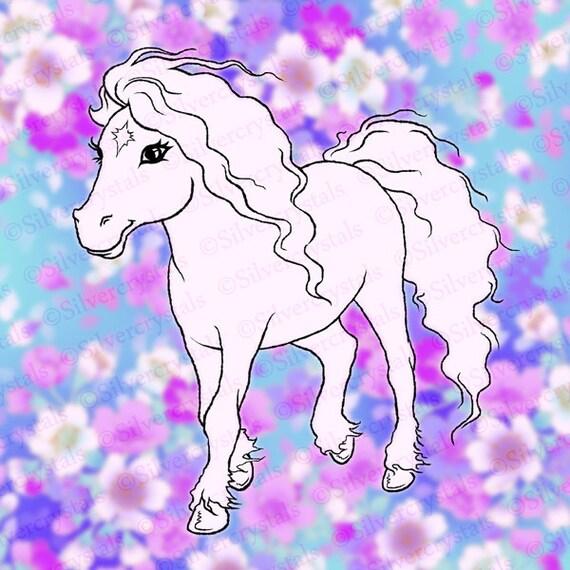 Timbre num rique poney cheval clipart mignon jolie petite digi - Clipart cheval ...